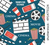 collection of cinema symbols... | Shutterstock .eps vector #491475124
