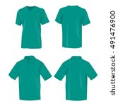 Sport teal t-shirt and polo shirt isolated set vector