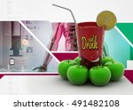 3d illustration of fruits and... | Shutterstock . vector #491482108