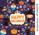 happy halloween greeting card ... | Shutterstock .eps vector #491482978
