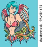 vector illustration with sexy... | Shutterstock .eps vector #491484676