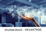 media worldwide technology...   Shutterstock . vector #491497900