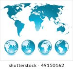 shiny globes and world map | Shutterstock .eps vector #49150162