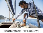 young handsome sailor pulling...   Shutterstock . vector #491503294