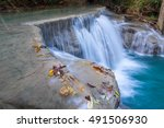 deep forest waterfall at erawan ... | Shutterstock . vector #491506930
