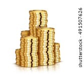 gold coin stack isolated on... | Shutterstock .eps vector #491507626