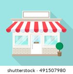 shop store icon with blank sign ... | Shutterstock .eps vector #491507980