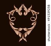 gold vintage baroque element...   Shutterstock .eps vector #491539258