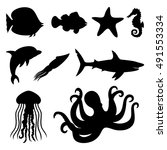 vector icons. fish  starfish ... | Shutterstock .eps vector #491553334