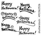 happy halloween  handwritten... | Shutterstock .eps vector #491562526