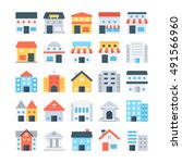 building colored vector icons | Shutterstock .eps vector #491566960