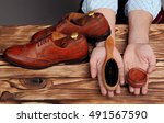 brogues and cream and brush in... | Shutterstock . vector #491567590