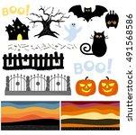 hallowen vector set | Shutterstock .eps vector #491568586