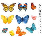 Stock photo collection of butterflies watercolor painting 491571058