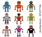 nine different vector retro... | Shutterstock .eps vector #49157746