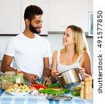 attractive black husband...   Shutterstock . vector #491577850