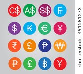 currency symbol in flat icon on ... | Shutterstock .eps vector #491581273