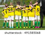 youth sports team. young... | Shutterstock . vector #491585068
