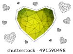 green  yellow heart isolated on ... | Shutterstock .eps vector #491590498