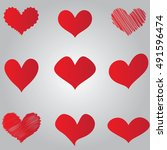 simple red hearts   Shutterstock .eps vector #491596474