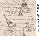 faded text  stamps  eiffel... | Shutterstock .eps vector #491599843