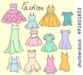 women clothes hand drawn doodle   Shutterstock .eps vector #491601853
