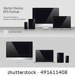 set of realistic computer... | Shutterstock .eps vector #491611408