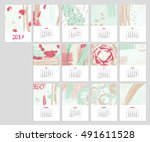 calendar 2017 with hand drawn... | Shutterstock .eps vector #491611528
