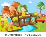 boy and girl in garden... | Shutterstock .eps vector #491616208