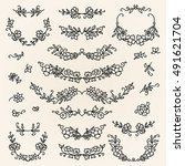 set of hand drawn wreaths and... | Shutterstock .eps vector #491621704