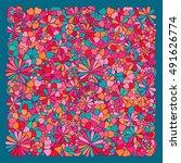 zentangle abstract flowers.... | Shutterstock .eps vector #491626774