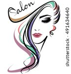 illustration of women long hair ... | Shutterstock .eps vector #491634640