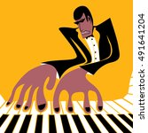 piano player poster  pianist... | Shutterstock .eps vector #491641204