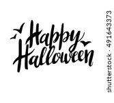 happy halloween greeting card... | Shutterstock .eps vector #491643373