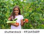 Little Girl In Vegetable Garde...