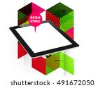 tablet pc icon with geometric...