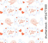 wedding seamless pattern.... | Shutterstock .eps vector #491677300