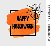 happy halloween sign text over... | Shutterstock .eps vector #491681188