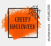 creepy halloween sign text over ... | Shutterstock .eps vector #491681200