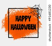 happy halloween sign text over... | Shutterstock .eps vector #491681230