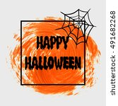happy halloween sign text over... | Shutterstock .eps vector #491682268