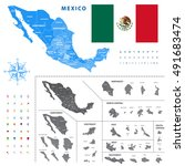 map of mexico regions... | Shutterstock .eps vector #491683474