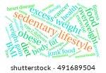 sedentary lifestyle word cloud... | Shutterstock .eps vector #491689504