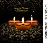decorative happy diwali... | Shutterstock .eps vector #491705074