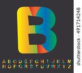 alphabet set colorful design ... | Shutterstock .eps vector #491714248