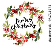 christmas card. watercolor... | Shutterstock . vector #491719378