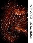 draped lurex fabric | Shutterstock . vector #491723623