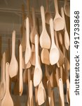long handle ladle wooden is... | Shutterstock . vector #491733868