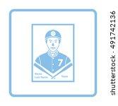 Baseball Card Icon. Blue Frame...