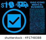 blue check vector rounded icon. ...